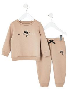 18ac6190be6 River Island Mini Mini boys embroidered sweatshirt outfit - stone