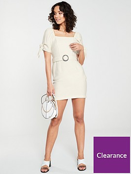 river-island-river-island-horn-buckle-belted-dress--stone