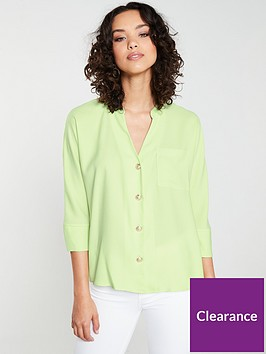 river-island-button-detail-blouse-lime