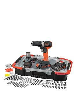 Black & Decker 18V Lithium Ion Cordless Drill Drive With 2 Batteries &Amp; 165 Accessories With Kitbox