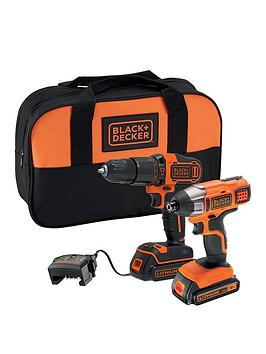 Black & Decker  18V Lithium Ion Twin Pack Kit With 18V Hammer Drill, 18V Impact Driver, 2X 1.5Ah Batteries, Charger &Amp; Softbag