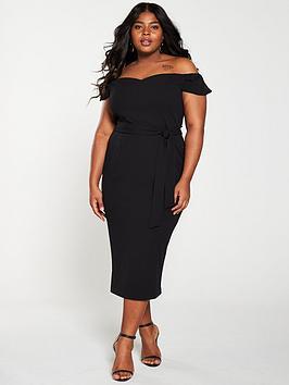 V by Very Curve V By Very Curve Bardot Pencil Dress - Black Picture