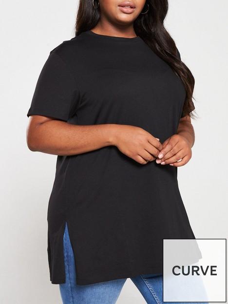 v-by-very-curve-valuenbspsplitnbsphem-tunic-t-shirt-black