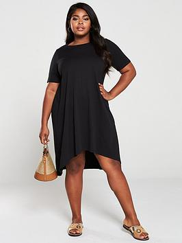 V by Very Curve V By Very Curve Dipped Hem T-Shirt Dress - Black Picture