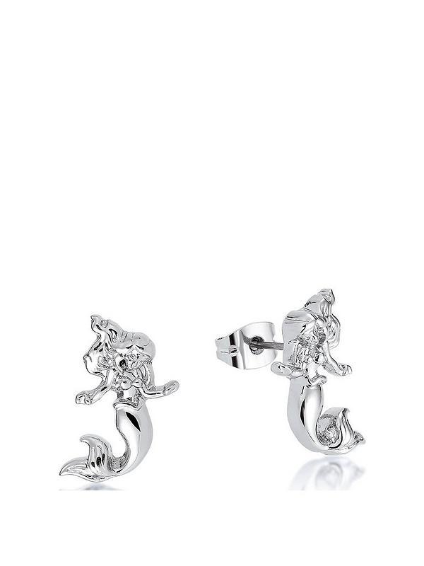 Disney Princess 14kt White Gold Plated Ariel Mermaid Stud Earrings