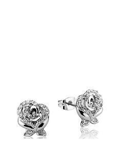 disney-disney-beauty-and-the-beast-14kt-gold-plated-crystal-rose-stud-earrings
