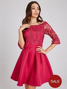 little-mistress-bardot-crochet-top-skater-dress-hot-pinknbsp