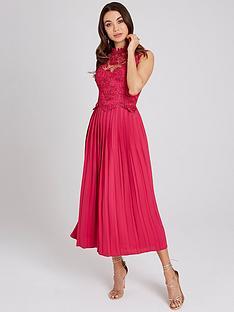 little-mistress-crochet-top-pleated-hem-midaxi-dress-hot-pink
