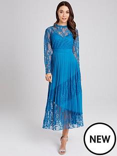 little-mistress-lace-top-pleated-hem-midaxi-dress-blue