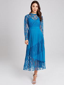 little-mistress-lace-top-pleated-hem-midaxi-dress-blue