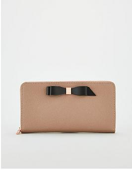 ted-baker-aine-bow-zip-around-leather-matinee-purse-taupe