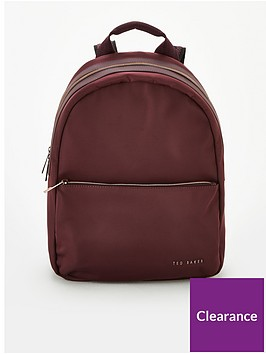 ted-baker-martah-plain-nylon-backpack-oxblood