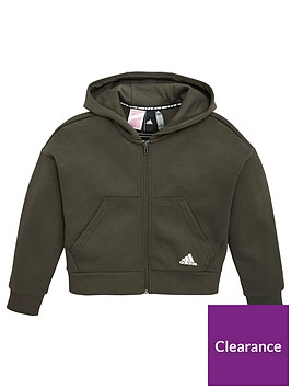 adidas-junior-3-stripe-full-zip-hoodie-khaki