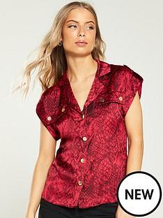 ab964fbe25f3f0 River Island River Island Snake Print Utility Shirt- Red