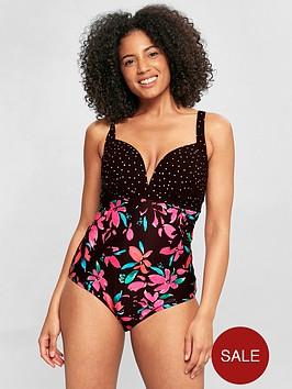 evans-floral-spot-swimsuit-black