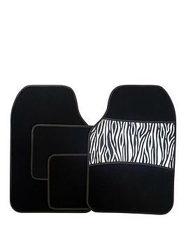 Streetwize Accessories Streetwize Accessories 4 Piece Zebra Print Car Mat  ... Picture