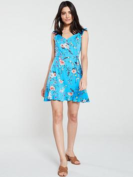 oasis-botanical-skater-dress-multi-blue