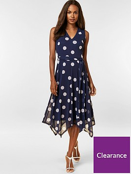 wallis-petite-polka-dot-fit-and-flare-dress-navy