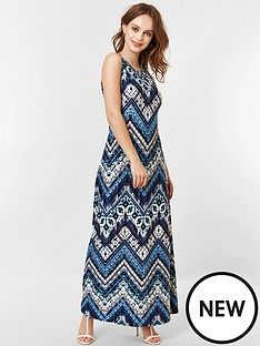 0c316652b61c9 Wallis Petite Chevron Tie Dye Maxi Dress - Blue