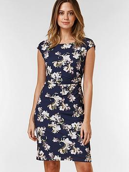 Wallis Wallis Petite Floral Ruched Side Dress - Navy Picture