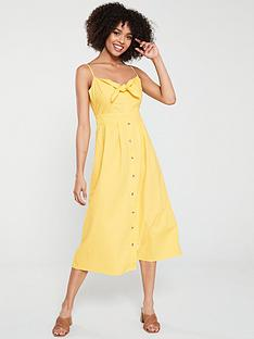warehouse-tie-front-linen-midi-dress-yellow