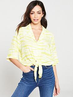 warehouse-tie-dye-tie-front-shirt-yellow