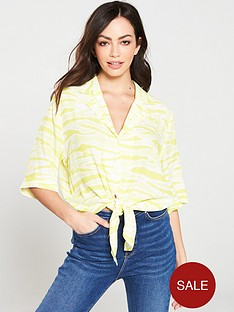 warehouse-tie-dye-tie-front-shirt-yellow