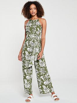 warehouse-jungle-print-jumpsuit-khaki