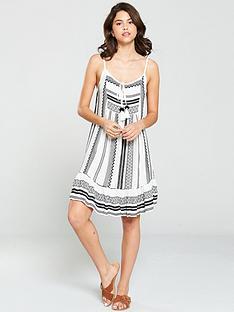 south-beach-jacquard-strappy-dress-black-white