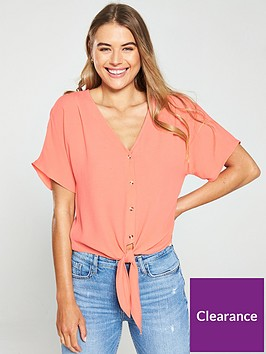 warehouse-tie-front-top-coral