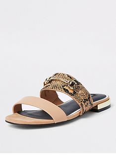 river-island-river-island-snake-print-snaffle-mule-sandals-beige