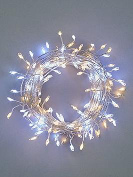 Festive   160 Silver Sparklebright Dewdrop Christmas Lights - Warm White &Amp; White