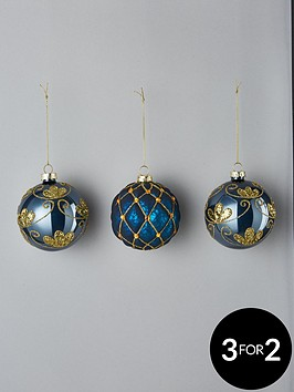 blue-glitter-glass-christmas-tree-baubles-set-of-3