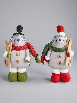 Very Set Of 2 Hedgehog Christmas Decorations Picture