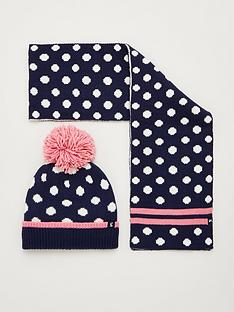 joules-girls-snowy-spot-hat-and-scarf-set-navy