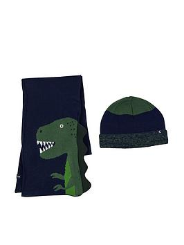 Joules   Boys Rex Dino Hat And Scarf Set - Navy