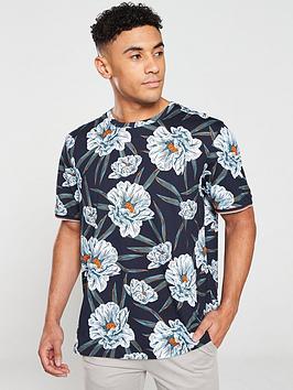 ted-baker-crakonnbspfloral-printed-t-shirt-navy
