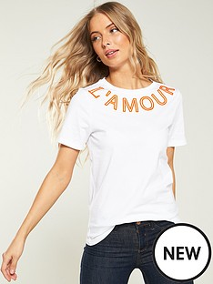 9c4c18e7acaba River Island River Island L amour Neck Print T-shirt- White