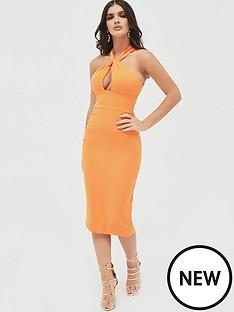 lavish-alice-halter-neck-twisted-midi-dress-orange