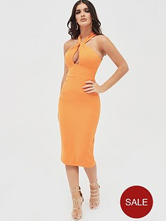 lavish-alice-halter-neck-twisted-midi-dress-orange