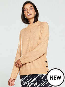 v-by-very-button-side-cuff-and-hem-jumper-camel