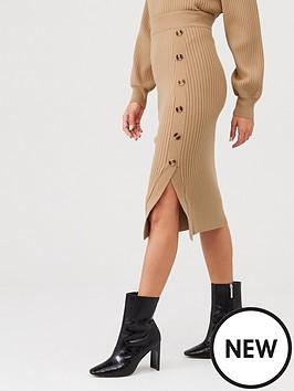 v-by-very-rib-knit-co-ord-skirt-tan