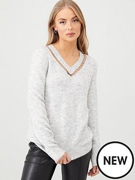 v-by-very-metal-ring-trim-insert-v-neck-longline-jumper-grey-marl