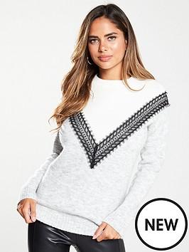 v-by-very-colour-block-lace-trim-longline-jumper-multi