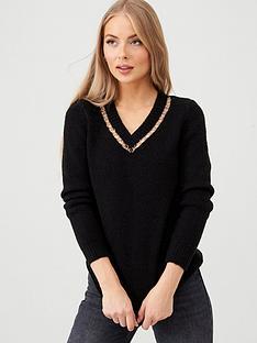 v-by-very-metal-ring-trim-insert-v-neck-longline-jumper-black