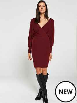v-by-very-deep-v-ribbed-crossover-batwing-knitted-dress-berry-red