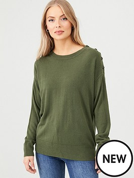 v-by-very-supersoft-button-shoulder-jumper-dark-olive