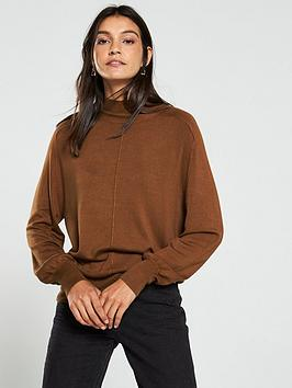 V by Very V By Very Turtleneck Seam Detail Blouson Sleeve Jumper - Tan Picture