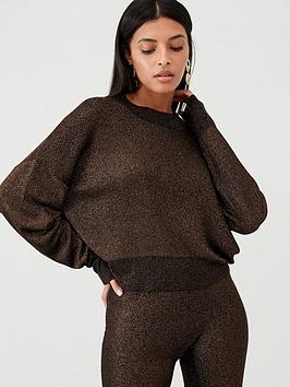 V by Very V By Very Co-Ord Metallic Boxy Jumper - Black Gold Picture