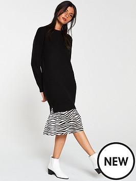 v-by-very-2-in-1-animal-print-hem-knitted-jumper-dress-black
